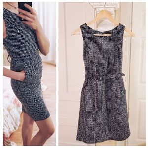 Blue & White Tweed Sheath Dress